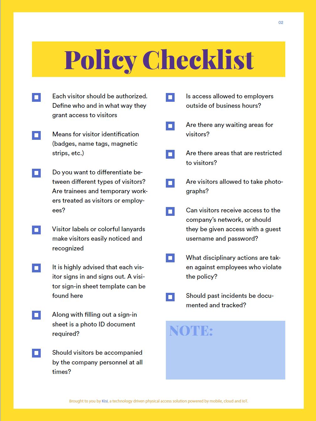 VisitorPolicyChecklist